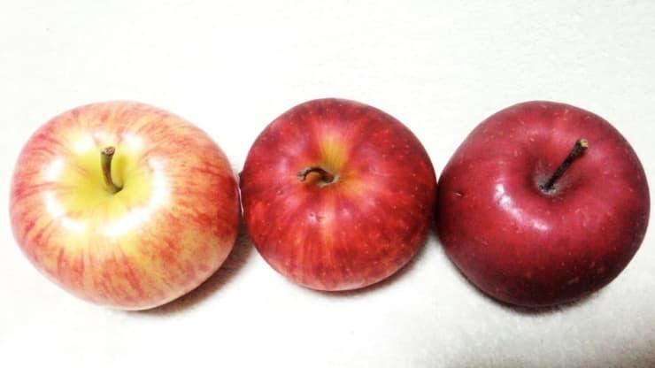 りんご3種の冠部分